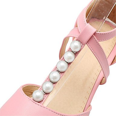 LvYuan Da donna Sandali Finta pelle Primavera Estate Perle Basso Bianco Nero Beige Rosa 10 - 12 cm White