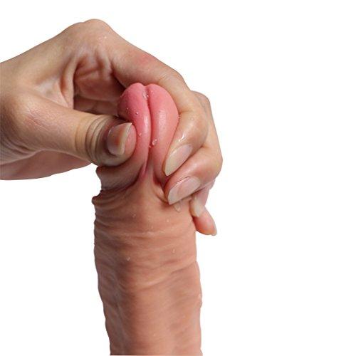 Pure Zwei-Layer-Silikon Dildo Soft Outside und Firm Inside Penis mit starken Saugnapf Real Dong Penis Nachbildung, Haut - 2