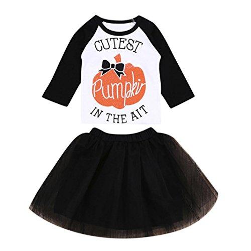 Babykleidung,Sannysis 2 Stücke Infant Baby Mädchen Kürbis Tops + Tutu Rock Halloween Kleidung Outfits Set (90, Schwarz)