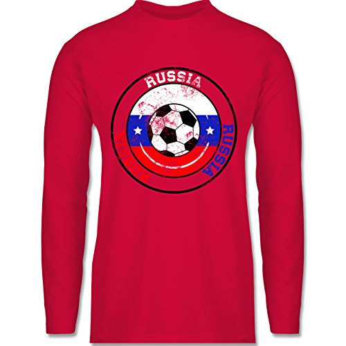 Shirtracer Fußball-WM 2018 - Russland - Russia Kreis & Fußball Vintage - Herren Langarmshirt Rot