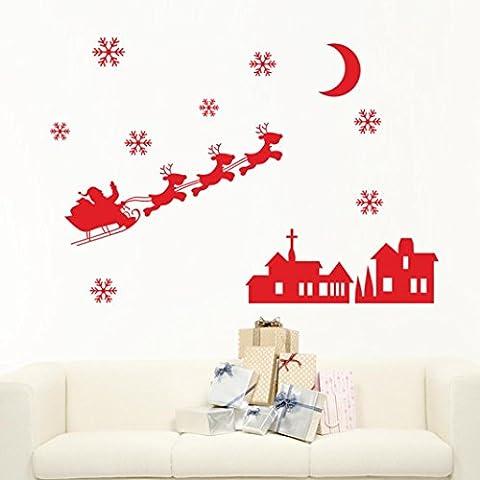Hunpta Weihnachten Dekoration Aufkleber Fenster Aufkleber Home Decor (Rot)