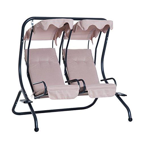 Outsunny 2-Sitzer Hollywoodschaukel Gartenschaukel mit Sonnendach Garten Stahl Beige 170 x 136 x 170 cm
