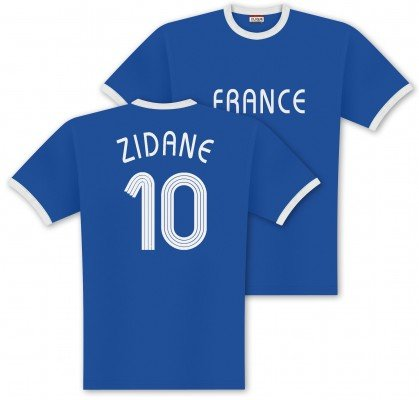 World of Football Player Shirt Zidane-Frankreich - L (Frankreich Trikot Wm 2014)