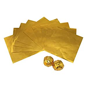 VOSO - 100 Pcs Gold Foil Wrappers Pack for Chocolate Sweets Confectionery 10x10cm by EZI