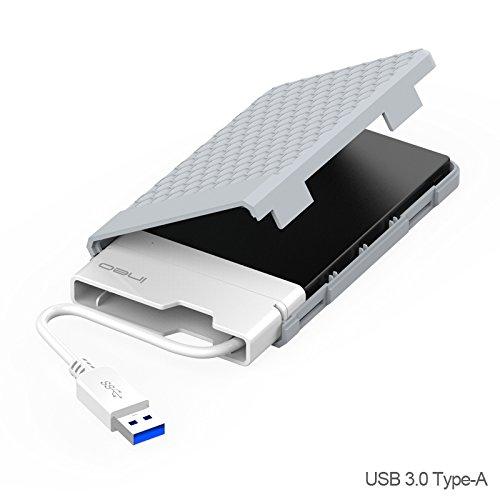 USB 3.0 Externes Festplatten Gehäuse für 2,5 Zoll Festplatte - ElecGear 2.5'' Festplattengehäuse 9.5mm/7mm SATA HDD / SSD / SSHD Adapter Caddy Hard Disk Drive Case, UASP mit integriertem USB-Typ-a-Kabel