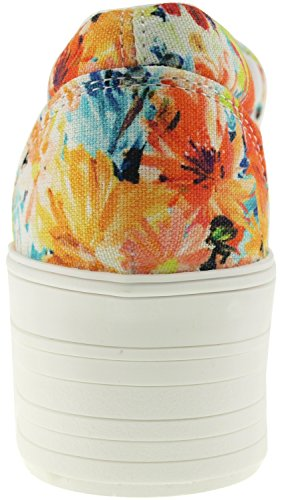 Maxstar C50 Spandex Low-Top Plattform Canvas Slip On Sneakers Flower-Yellow