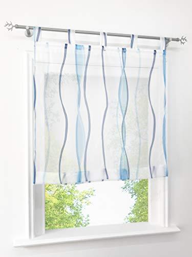 BAILEY JO Voile Raffrollo mit Wellen Druck Design Rollos Schlaufen Transparent Vorhang (BxH 100x140cm, Blau)