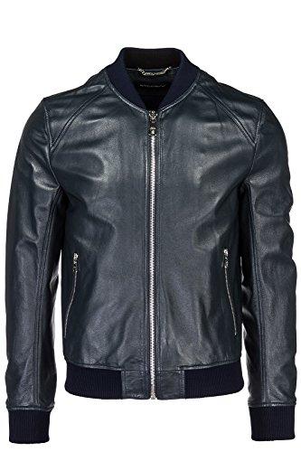 Dolce&Gabbana Herren Lederjacke Jacke Blouson Leder Herrenjacke blu EU 48 (UK M) G9JT4LFUL89B0387