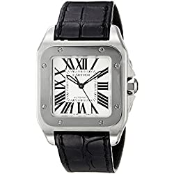 Cartier Unisex Santos 100 Black Leather Band Steel Case Automatic Silver-Tone Dial Analog Watch W20106X8