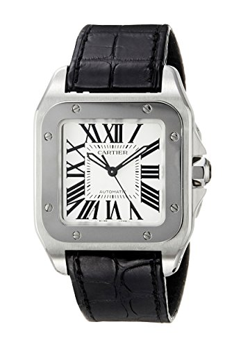 CARTIER-UNISEX-SANTOS-100-LEATHER-BAND-STEEL-CASE-AUTOMATIC-WATCH-W20106X8