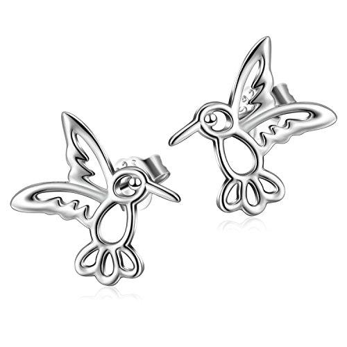 Vogel Ohrstecker 925 Sterling Silber Kolibri Ohrringe Schmuck für Frauen Mädchen (Vogel-Ohrstecker) -