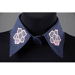Cuello postizo hecho a mano bordado azul bisuteria fina regalo personalizado