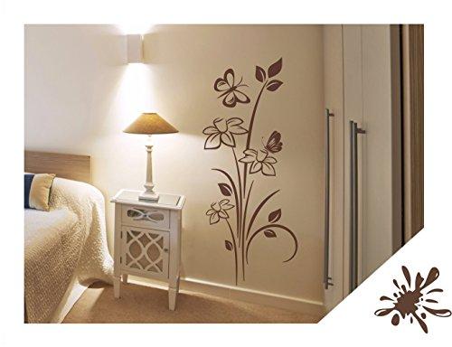 Wandtattoo Blumen Pflanze Narzissen mit Schmetterlinge für Wohnzimmer Schlafzimmer Flur oder Diele (jap44 braun) 120 x 50 cm mit Farb- u. Größenauswahl