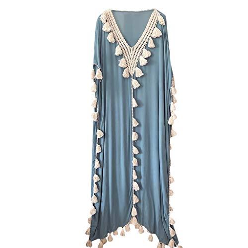 TEBAISE Bohème des Femmes Robe Longue Ethnique Style Pompon Plage Vacances d'été Robe de soirée(Bleu,L)