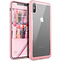Yokata Funda iPhone X Silicona Transparente Rígido Vidrio de aluminosilicato Bumper Antigolpes Gel Grueso Case Cover Caso para iPhone X / iPhone 10 - Rosado