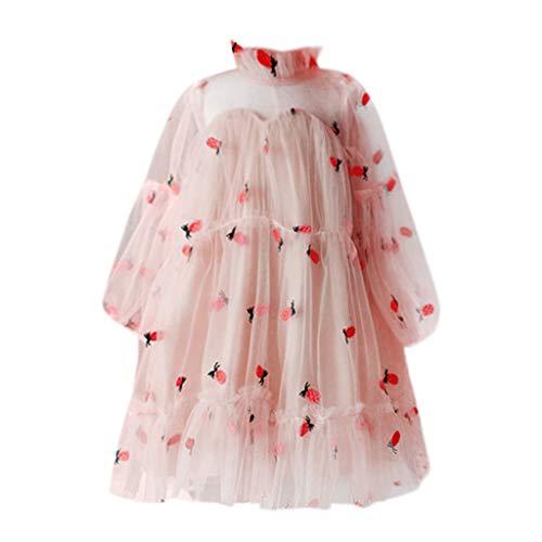 VJGOAL Mädchen Kleider, Kind Baby Süß Lange Ärmel Prinzessin Kleid Obst Ananas Stickerei Sommer Reisen Urlaub Strand Dresses for Girl ()