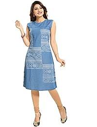 Dragaon Peppy Printed Light Blue Denim Sleeveless Kurti Dress For Everyday Wear