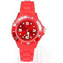 AccessoriesBySej 24 Colours - SMALL RED 33mm CHILDREN'S KIDS GIRLS BOYS LADIES WOMENS SMALL 33mm QUARTZ SILICON /RUBBER STYLE JELLY SPORT WRIST WATCHES UNISEX DATE