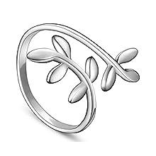 Anello regolabile con corona di alloro in argento Sterling 925, taglia Q per donna, argento, 58 (18.5), colore: Silver, cod. JR50B