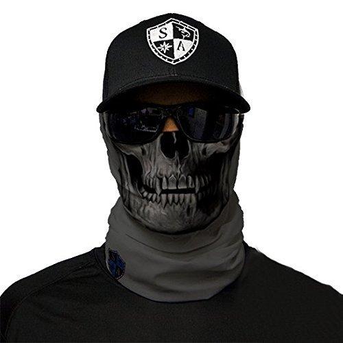 SA Fishing Face Shields ** 40+ Designs verfügbar ** Qualitäts Bandana / Multifunktionstuch / Schlauchtuch / Halstuch aus Stoff & SPF 40 - Face Masks von SA Company, Grey Skull (Damen Snowboard Face Bandana)