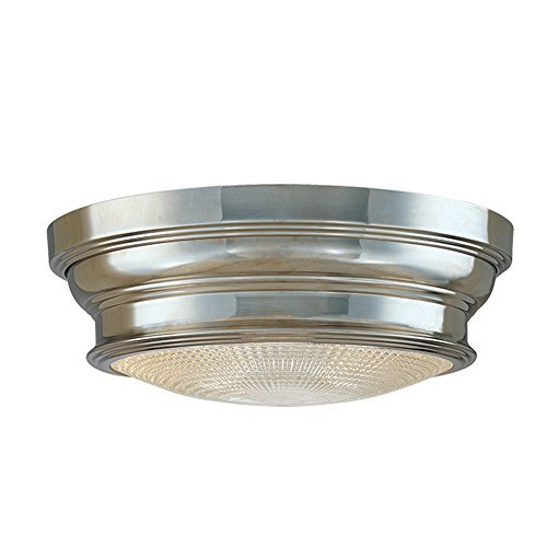 Hudson Valley Lighting Woodstock 1-Light Flush Mount - Polished Nickel Finish with Clear Prismatic Glass Shade by Hudson Valley Lighting - Clear Prismatic Glass