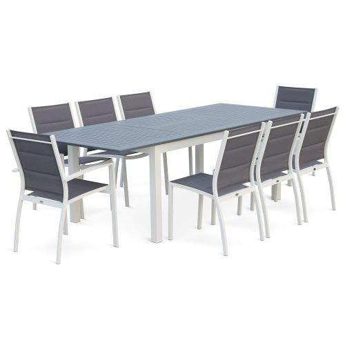 Salon de Jardin Table Extensible - Chicago Gris foncé - Table 175/245cm avec rallonge et 8 assises en textilène