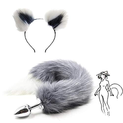 Grey Fox Kostüm - Jjek Cos-Grey Fox Metallschwanz Plüsch und Multicolor Katzenohren Glamour weibliche Maskerade Requisiten Set an-l Pl-ùg Geeignet for Männer Frauen Maskerade Party Kostüm 2er Set