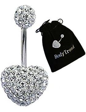 Swarovski Kristall-Herz, Bauchnabel-Piercing, 3D, handgefertigt, Der Stab ist aus Titan Grad 23, Stärke 1,6mm