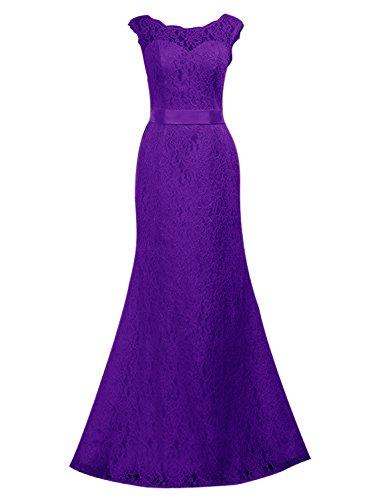 Find Dress Femme Elégant Sexy Robe de Soirée/Cocktail/Cérémonie Robe Forme Fourreau Longue sans Manches en Dentelle Pourpre