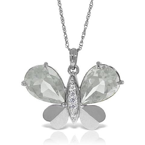 QP Jewellers con topazio bianco naturale &-Collana con ciondolo in oro bianco 9 k, 11,0ct-5495W