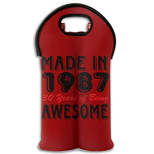 Fashion Made 1987 30 Years Awesome 2 Bottle Wine Carrier Tote Insulated Neoprene Bag For Beer Multicolor5