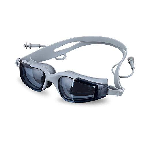 YHYZ Schwimmbrille mit wasserdichter Antibeschlag- und UV-Schutzbrille. Große Fassung mit Ohrenstöpsel-Schutzbrille, grau -
