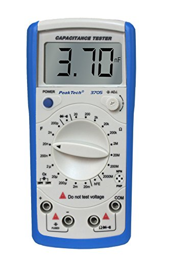 PeakTech Digital Kapazitätsmessgerät 20MF / Widerstandmessgerät 2000 Mohm / Durchgangsprüfer / DIODEN Test / Transistortest Hfe, 1 Stück, P 3705