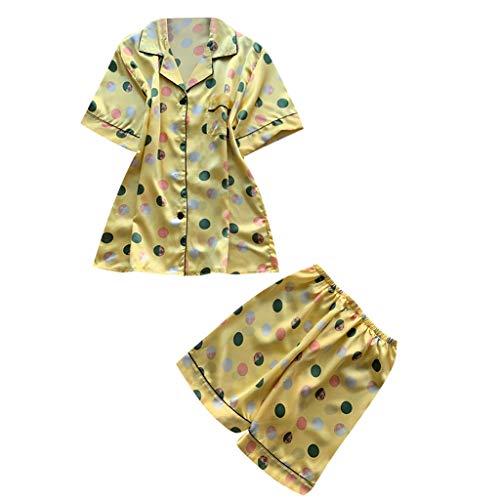 Frauen 2 Stücke Sommer Pyjamas Kurzarm Shorts Pyjamas Lose Nachtwäsche Homewear Damen Hauspyjama Zweiteilig E-1 (Gelb,XL) ()