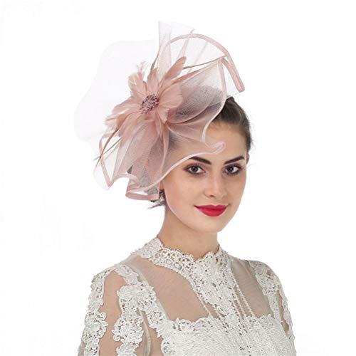 Fascinators Hut Blume Mesh Bänder Federn auf einem Stirnband und einem geteilten Clip Cocktail Tea Party Hochzeit Kirche Headwear für Mädchen und Frauen Braut (A1-Skin Pink) Damen-tea-party
