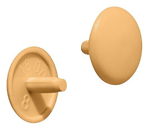 Gedotec Schrauben-Kappe Kunststoff Möbel-Abdeckkappen rund Schrauben-Abdeckungen kieferfarben | H1115 | Verschluss-Stopfen für Kopflochbohrung PZ2 | Ø 12 x 2,5 mm | 100 Stück