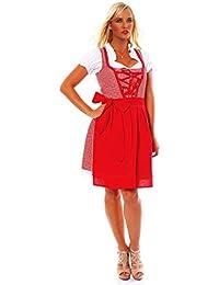 10590 Fashion4Young Damen Dirndl 3 tlg.Trachtenkleid Kleid Mini Bluse Schürze Trachten Oktoberfest
