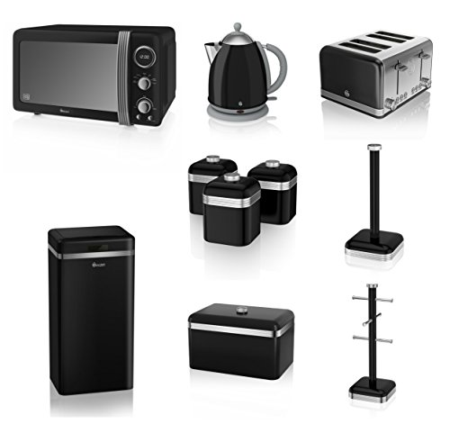 Swan Black Kitchen Appliance Retro Set Of 10 - Retro Digital Microwave, 20 Litre, 800 Watt, 1.7 Litre Black Jug Kettle & Retro Stylish 4 Slice Toaster Retro Breadbin, 3 Canisters, Towel Pole, 6 Mug Tree And Sensor Rubbish Bin Set