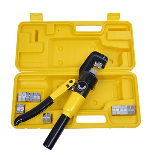 ReaseJoy 10 Ton 9 Dies Hydraulic Crimper Crimping Tool Wire Battery Cable Lug Terminal -
