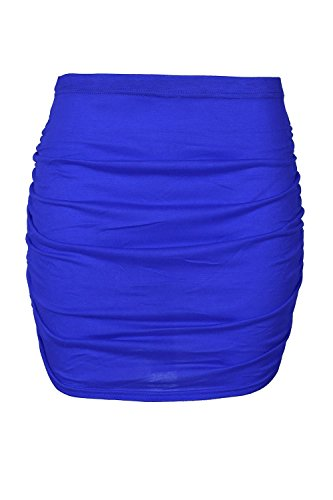 Oops Outlet Womens Mini Skirt Ladies Plain Elasticated Waist Stretchy Side Ruched Bodycon Plus Size UK 8-22