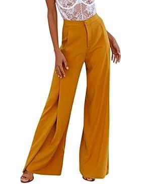 DOGZI Mujer Baggy Pantalones de Vestir Negocios Pantalon Estampado Rayas Cintura Alta Mujer Pantalones