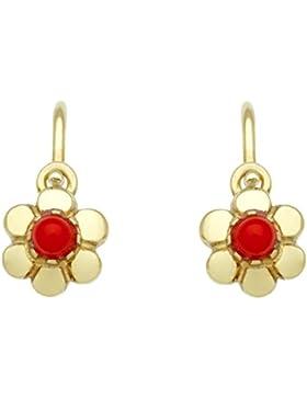 Basic Gold KI62 Mädchen Kinder Ohrringe Blume 14 Karat (585) Gelbgold Kinderschmuck Rot synth. Koralle
