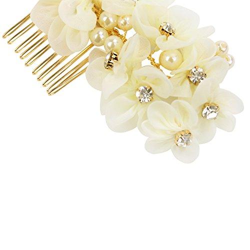 Tüll Blume Sicke Simulierte Perlen Braut Haarkämme Hochzeit Haarschmuck für Brauthochzeits Abschlussball Partei - Weiß - 5