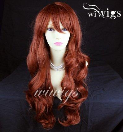 130Perücke sexy lang gewellt Layered Kupfer Rot Damen (Perücke Rote Haare)