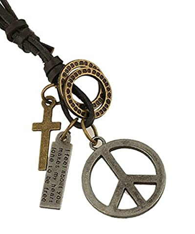 AMDXD Jewelry Gold Plated Men's Women's Pendant Necklace Antique Silver Peace Symbol Cowhide