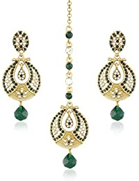 I Jewels Traditional Gold Plated Earrings With Mang Tikka For Women TE2312G (Green)