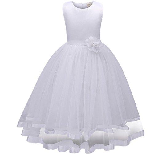 Kleid Sannysis Blumenmädchenkleid Mädchen Prinzessin Kinderkleid Partykleid Tutu Tüll Kleid Party Brautkleid (Weiß, 120) (Party Kostüme Für Mädchen)