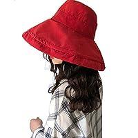 NashaFeiLi Summer Sun Hat, Women Sunscreen Cap Foldable Fisherman Solid Color Beach Hat for Women Girl (Red)