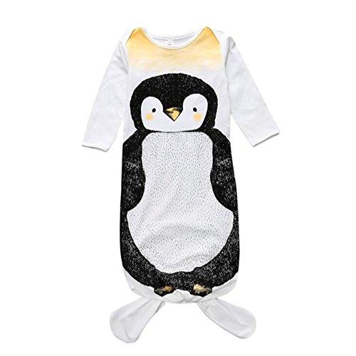 (GWELL Baby Kleinkind Hai Meerjungfrau Kostüm Schlafsack Schlummersack Langarm Schlafanzug Tier Outfit für Mädchen Jungen Pinguin 0-1 Jahre S)