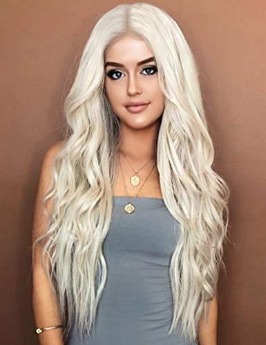 Kalyss 24 Zoll platinblondes lockiges welliges hitzebeständiges Haar Perücke für Frauen Mittelteil ohne Lace Front Haar Ersatz - Graue Haare Kostüm Perücke